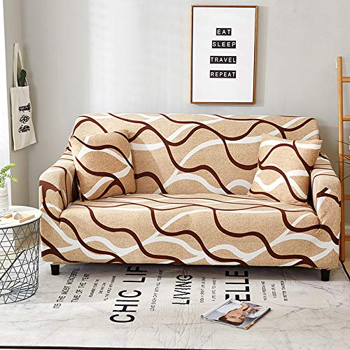 Lifemaison Housse de Canapé 1 2 3 4 Places Couverture de Sofa élastique Tricoté Tout Compris Protecteur de Canapé avec Accoudoirs avec Impression de Fleurs Fantais