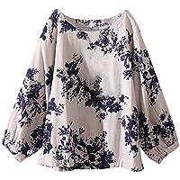 Camiseta de algodón y Lino Talla Grande para Mujer,Gusspower Blusa de Estampado Floral Etnico Bohemio Manga Larga Suelta Tops