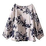 NPRADLA 2018 Womens Casual Plus Größe Baumwolle Tops T Shirt Vintage Boho Blumen Lose Bluse(Blau,3XL)