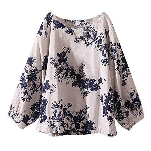 IZHH Damen Shirt Lässig Plus Size Baumwolle Tops T Bohemia Mode Oansatz Vintage Boho Floral Lose Bluse Leinen Ethnische Stil Lose Top T-Shirt(Blau,XXXXX-Large)