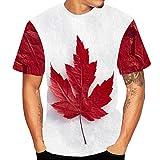 Xmiral Herren Top Bluse 3D Flood Kurzarm-T-Shirt Gedruckt Baumwolle O-Ansatz Übergröße Pullover(XS,I)