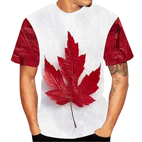 EUCoo Uomo T Shirt a Maniche Corte con Stampa 3D St. Patrick's Day Trifoglio Fortunato Moda Manica Corta Tops(Bianca,XX-Large)