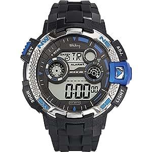 Tekday - 655871 - Montre Homme - Quartz Digital - Cadran Noir - Bracelet Plastique Noir