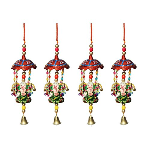 Door Hanging Umbrella With Big Ganesha Painted And Metal Bell Set Of 4 By Handicrafts Paradise