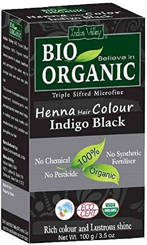 Indus Valley Henna Hair Dye Indigo Black 100% Bio Organic Triple gesiebt mikrofeines Pulver (Indigo Black)