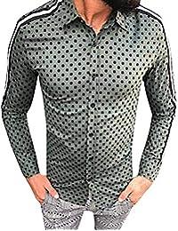 Yesmile ❤ Camisas Hombre Deportes Puntos Manga Larga Slim Fit Camisas Hombre Lino Camisas Hombre
