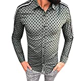 Gusspower Herren Hemd Punkt Streifen Langarm Button-Down Für Anzug Shirt Männer Freizeit Slim Fit Business Marine Trachtenhemd