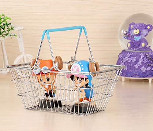Yanshan Mini Ablagekorb Boutique Convenience-Store Supermarkt Einkaufskorb Schmiedeeisen Einkaufskorb tragbare kleine weiße Siebdruck (Color : Light Blue, Size : S) -
