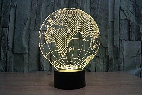 Lampe 3D ILLUSION Lichter der Nacht, kingcoo 7Farben LED Acryl Licht 3D Creative Berührungsschalter Stereo Visual Atmosphäre Schreibtischlampe Tisch-, Geschenk für Weihnachten, Kunststoff, Globe Européen 0.50 wattsW - 6