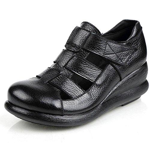 Retro sandali da donna pendenza con crosta spessa pelle cave Xia Jiping scarpe fondo coreani femminili dei sandali romani Black