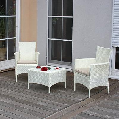 Garten-Garnitur Sitzgruppe ROM, Poly-Rattan, Tisch eckig + 2x Sessel ~ weiß