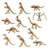 Funhoo 24pcs 12 Tipos de Dinosaurio Esqueleto Juguete Conjunto Plástico Hueso Fósil Modelo Erzeheric Divertido para Niños Colección de Fiestas Escolar Paleontología