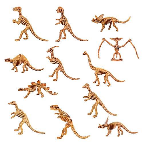 Funhoo 24pcs 12 Typen Dinosaurier Skeleten Spielzeug Sortiert Set Kunststoff Knochen Fossil Modell erzeiherisch lustig für Kinder Party Kollektion Schule Paläontologie