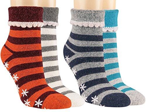 Vitasox 14481 Damen Socken Stoppersocken Wollsocken mit Umschlag und ABS 4er Pack 39/42