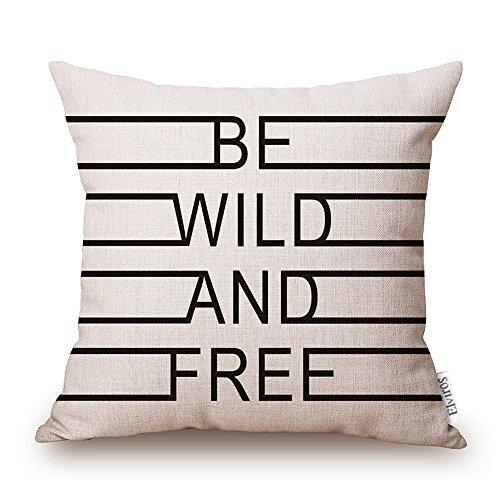 Elviros Dekorativ Baumwoll Leinen Mix Kissenbezug 45 x 45cm-BE WILD AND FREE