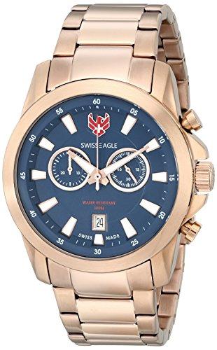 Swiss Eagle SE-9055–66de la Hombres Zermatt oro rosa reloj de cuarzo analógica Swiss