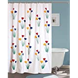 Yellow Weaves Pvc Flowers Hand Painted Shower Curtain 54X80 Inches- 8 Hooks