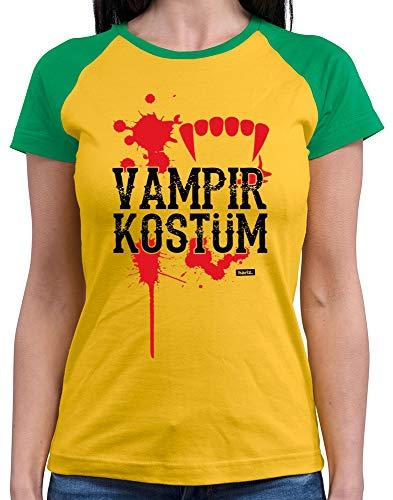 HARIZ  Damen Baseball Shirt Vampir Kostüm Karneval Kostüm Plus Geschenkkarten Gold/Kelly Green (Vampir Baseball Kostüm)