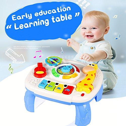 ACTRINIC Musikalische Lerntisch Baby Spielzeug 12- 18 Monate - Frühe Bildung,Musik Aktivitätszentrum Spieltisch Kleinkinder Spielzeug für 1 2 3 Jahre alt-Verschiedene Beleuchtungen und Musik