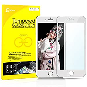 JETech® iPhone 6 Plus Film Protecteur Plein écran en Verre trempé haut de gamme Full Screen Premium Tempered Glass Screen Protector pour Apple iPhone 6 Plus 5.5 (Blanc)