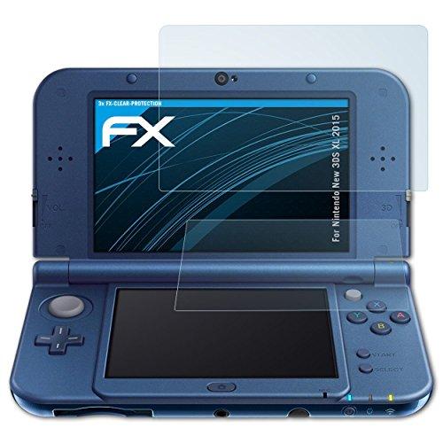 atFoliX Displayschutzfolie für Nintendo New 3DS XL (2015) Schutzfolie - 3er Set FX-Clear kristallklare Folie