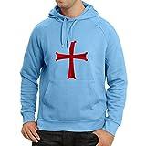 lepni.me Sudadera con Capucha Orden de Caballero Cristiano - la Cruz de los Caballeros templarios (XX-Large Azul