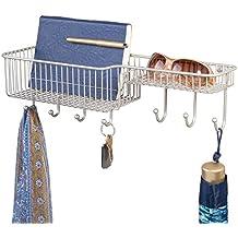 mDesign Vacía bolsillos con bandeja para cartas – Cestas métalicas con  ganchos para llaves d950f5733561