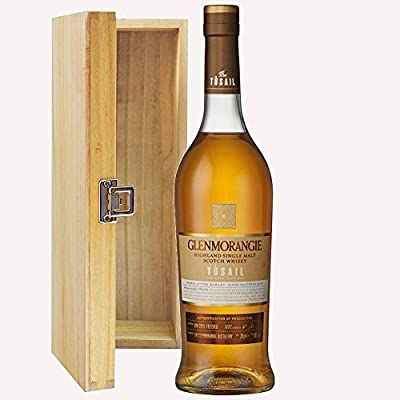 Glenmorangie Tusail Single Malt Whisky 70cl Bottle in Hinged Wooden Gift Box with Hand Crafted Gifts2Drink Tag