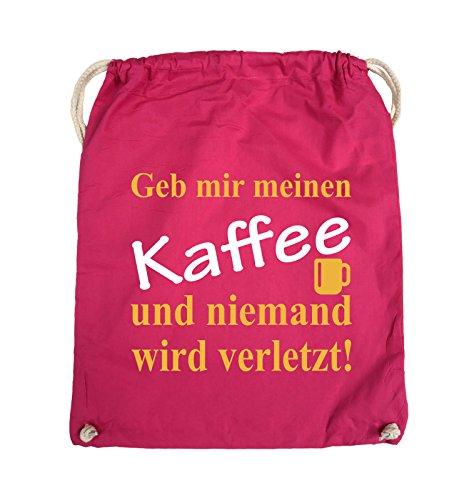 Comedy Bags - Geb mir meinen Kaffee und niemand wird verletzt! - Turnbeutel - 37x46cm - Farbe: Schwarz / Weiss-Neongrün Pink / Gelb-Weiss