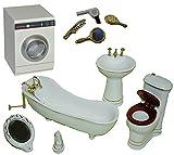 10 tlg. Set Bad Maßstab 1:12 mit Waschmaschine und Zubehör - Porzellan / Keramik - Nostalgie Miniatur für Badezimmer Zubehör Nostalgie Puppenstube Badewanne