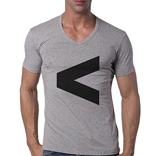 Number Math Symbol Calculus Equations Less Herren V-Neck T-Shirt Grau