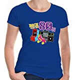 buXsbaum Damen Girlie T-Shirt Back to The 80s | 80er Oldschool Party Disco | XXL, Blau