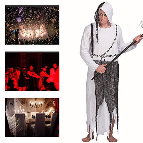 JH&MM Halloween Mann Kostüm Ghost Hood Robe Set Cosplay Party Spiel Maskerade Show,L (Ghost Robe Kostüm)