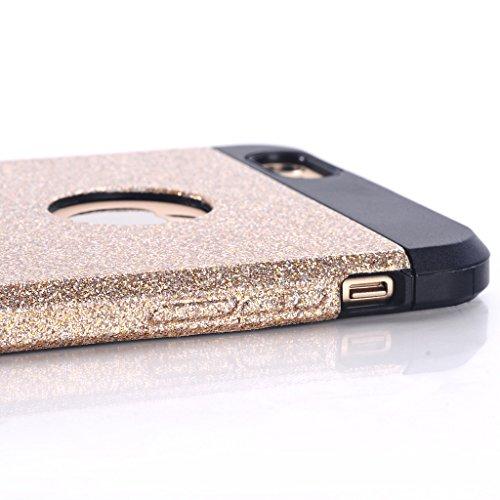 iCHOOSE Paillettes Protecteur Caoutchouc Bling cas de Couverture Coque Rigide avec Chiffon de Nettoyage Gratuit et Protecteur d'écran pour Apple iPhone 6 / 6S / Noir Bleu
