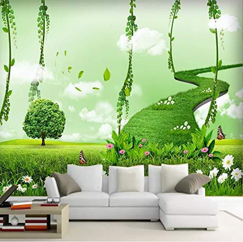 VVBIHUAING 3D Tapete Dekorationen Wand Aufkleber Wandbilder Grüne Leiter Romantisch Wohnzimmer Sofa Hintergrund Kunst Kinder Schlafzimmer (W) 400x(H) 280cm (Riesen-wand-abziehbilder Für Wohnzimmer)