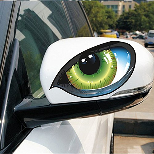 Swiftswan 2pcs Lifelike 3D Eyes Car Stickers Reflective Vinyl Decal Fashion Car Decor(Color:Black) -