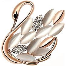 Broche pin- moda perla de imitación de alce pecho hebilla chal broche crystal swan joyas pin hebilla bufandas de moda para las mujeres chica regalo de Navidad Gold Swan