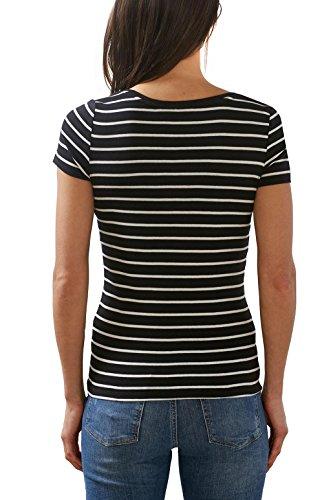 ESPRIT Damen T-Shirt Mehrfarbig (Black 001)