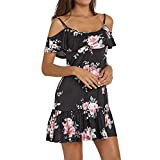 Heiß! Damen Kleid Yesmile Frauen Frühling Sommer Lose Halbe Hülse Minikleid Blumendruck Bowknot Ärmeln Cocktail Minikleid Casual Party Kleid (L, Blau-C)
