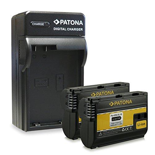 M&L Mobiles® | Novedad - 4in1 Cargador + 2x Batería como EN-EL15 ENEL15 con Infochip · 100% compatible con Nikon V1 | D7000 | D8000 | D800E | 1 V1 | D600