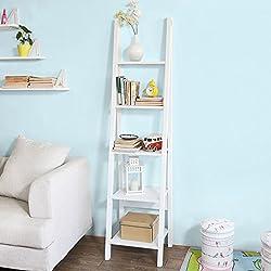 SoBuy® Estanterias librerias,Estanterias de diseño,Estantería de esquina,blanco,FRG101-W, ES