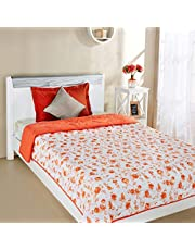 Amazon Brand - Solimo Victoria Microfibre Printed Quilt Blanket, Single, 120 GSM, Orange