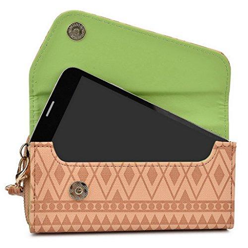 Kroo Pochette/Tribal Urban Style Téléphone Coque pour Samsung Galaxy S4Zoom White with Mint Blue Brun