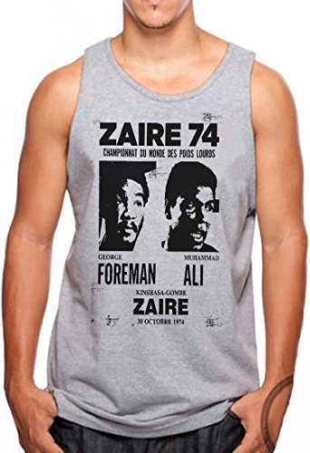 OM3 - ZAIRE74-FOREMAN-vs-ALI - Tank Top - Rumble In The Jungle Afrika Africa Heavyweight Boxing Fight Champion, S - 4XL Grau Meliert