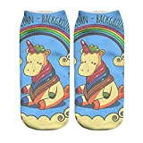 Blue Vessel 3D Socken Womens Mens Einhorn Cartoon Tiere Boot Knöchel (c)