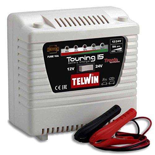 Telwin Elements Touring 15 voiture Chargeur de batterie pour batteries 12 V/24 V, courant de charge jusqu\'à 9 A, Capacité : jusqu\'à 115 Ah