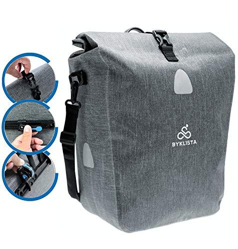 BYKLISTA® Premium Fahrradtasche für Gepäckträger + Gratis eBook - hochwertige Gepäckträgertasche Hinterradtasche Tasche für Fahrrad - Wasserdicht mit Reflektoren & Schultergurt in Grau, 23 L