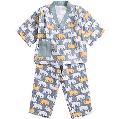 Flyish Kids Pyjamas Kinder Sommer Nachtwäsche Bärchenmuster Jungen Nachtwäsche 2-teiliges Set Baumwolle weich Alter 2 bis 12 Jahre