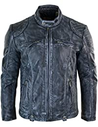 5df3a4f45a3 Aviatrix Mens Blue Washed Jacket Zip Biker Vintage Distressed Retro Casual  Real Leather
