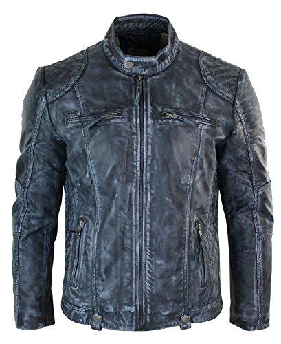Veste motard cuir véritable zippée délavée patinée rétro vintage décontracté bleu homm